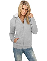 Urban Classics - Chaqueta de invierno con capucha y cremallera para chica, color gris-blanco