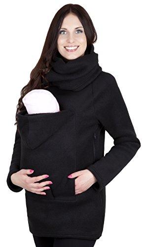 MijaCulture Sudadera con Capucha Caliente de Lana Polar de Maternidad/Suéter para Dos/para portadores de bebé 1107A (M / 38, Negro)