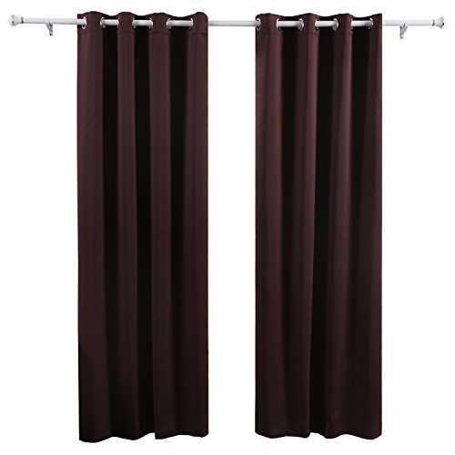 Luxury Faux Silk Slubbed Chocolate Eyelet Fully Lined Ready-made Curtain Pair 90x90in (225x225cm)