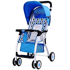 KKCD - Baby Pram Baby Stroller Fold Lightweight Portable Can Sit Can Lie Flat Baby Child Umbrella Baby Carriage for 3-36 Months Baby Use Buggy (Color : Blue)   9