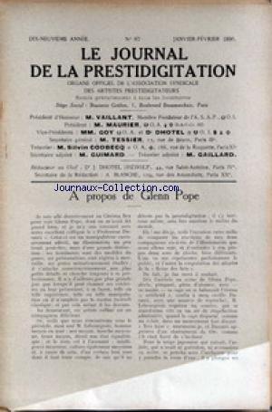 JOURNAL DE LA PRESTIDIGITATION [No 87] du 01/01/1936 - A PROPOS DE GLENN POPE. par Collectif
