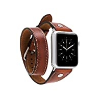 Bouletta Apple Watch Deri Kordon 38-40mm Slim Çift Tur Silver Trok RST2EF Taba