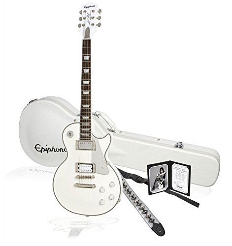 Epiphone ENTTMWNH4 Ltd Ed Tommy Thayer White Lightning Signature Les Paul Outfit E-Gitarre