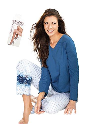 Südtrikot Cybele Damen Schlafanzug Pyjama 7/8 Hose 6 Gr. 36-46 100% gek. Baumwolle Mittelblau/Weiss mit Muster