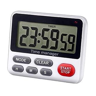 Temporizador digital de cuenta regresiva de cocina – AIMILAR cuenta hacia arriba y abajo reloj de cocina con alarma magnética blanca