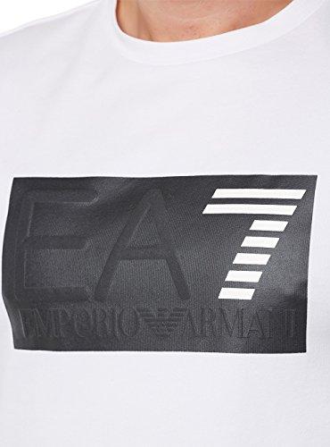 Emporio Armani EA7 Herren T-Shirt Kurzarm Kurzarmshirt runder Kragen Weiß White