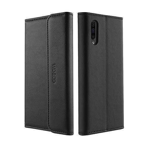 WD&CD Cover para Samsung Galaxy A50 [Garantía de por vida] Funda para Galaxy A50 Kickstand Ranura para tarjetas Premium PU Funda con tapa de cuero y billetera - Negro