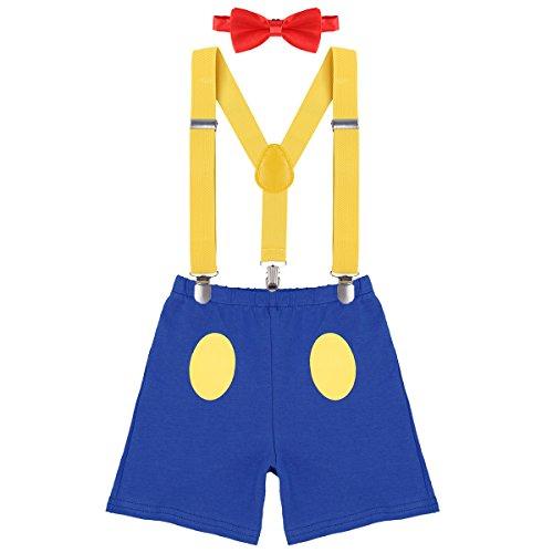 3. Geburtstag Kostüm Jungen Mädchen Donald Duck Karneval Cospaly Outfit Hosenträger Hosen mit Fliege Stirnband 3pcs / 4pcs Bekleidungssets Fotoshooting Cartoon 07 2-3 Jahre ()