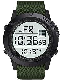 Skryo👍👍 Reloj para hombre/señoras Relojes deportivos Reloj de pulsera digital LED para exteriores a prueba de agua (Army Green)