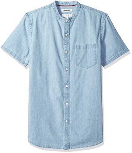 Goodthreads Herren Slim-Fit Short-Sleeve Band-Collar Denim Freizeithemd, Blau (Light Blue Lig), Gr. Small -