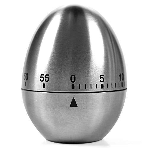 VLUNT HOME Küche Kurzzeitmesser Ei Küchentimer Eiförmige Lustige Eieruhr Edelstahl Rostfrei Kurzzeitwecker Küche Mit Stoppuhr Handwäsche Mit 60 Minuten Garzeit