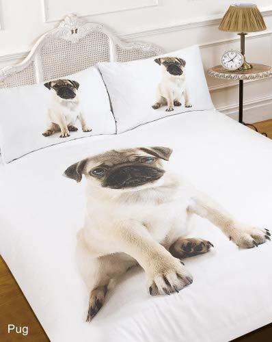 Dreamscene–Juego de funda nórdica con funda de almohada 3d Pug perro Animal...
