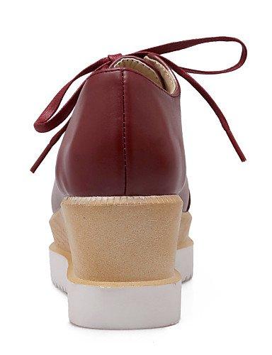 ZQ Scarpe Donna - Stringate - Formale - A punta - Zeppa - Finta pelle - Nero / Rosa / Rosso / Beige , beige-us8 / eu39 / uk6 / cn39 , beige-us8 / eu39 / uk6 / cn39 red-us5.5 / eu36 / uk3.5 / cn35