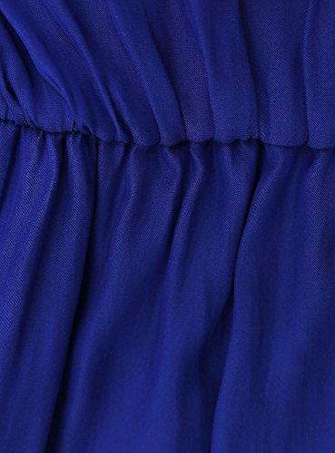 oodji Collection Femme Robe Longue avec Élastique et Cordons de Serrage à la Taille Bleu (7500N)