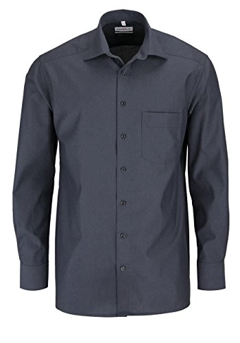 MARVELIS Comfort Fit Hemd Langarm New Kent Kragen anthrazit, Größe 46, Farbe Anthrazit