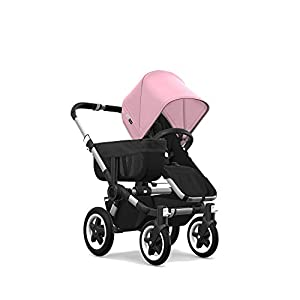 Bugaboo Donkey 2 Mono, 2 In 1 Pram and Pushchair, Extends Into Double Stroller, Black/Soft Pink Familidoo Multi position adjustable backrest recline Detachable handle bar/bumper  Suitable from birth 9