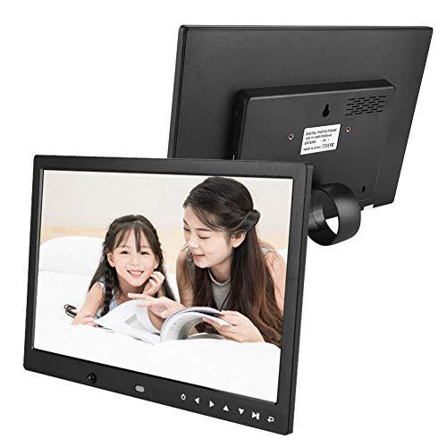 Garsent Digitaler Fotorahmen, 13 Zoll HD Multifunktions elektronische Bilderrahmen Unterstützung für USB, SD-Karte, Wecker, Kalender Funktion(schwarz AC110-240V)