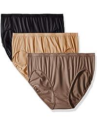 afea97fb0a94 ELLEN TRACY Women's 3 Pack Hi-Cut Logo Micofiber Panties, Mocha/Black/