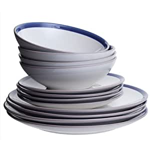 Dartington Crystal Navy 12 Piece Dine Essentials Set, Set of 1, Navy and White