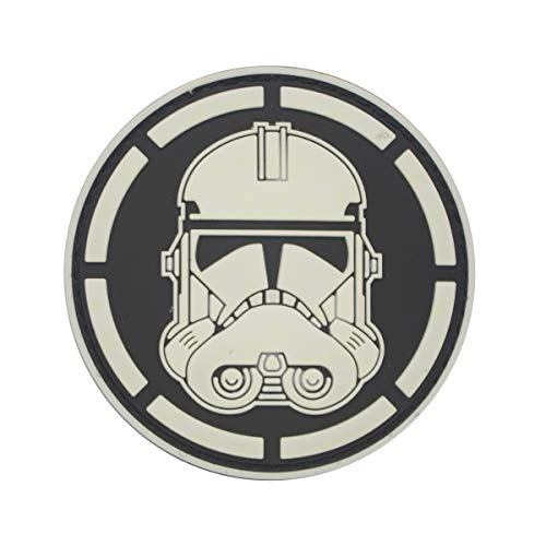 Stormtrooper Kunststoff Kostüm - Cobra Tactical Solutions Military PVC Patch Head Stormtrooper Star Wars Schwarz/Weiß mit Klettverschluss für Airsoft/Paintball für Taktische Kleidung/Rucksack