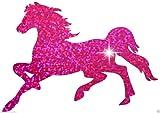 Bügelbild galoppierendes Pferd, glitzernd, für T-Shirt, Junggesellinnenabschied, Party rose