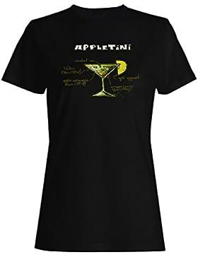 Appletini recetas de cócteles barra de menú camiseta de las mujeres uu74f