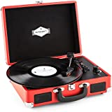 auna Peggy Sue tocadiscos retro (USB, altavoces estéreo integrados, salida RCA, digitalizador LP) - rojo