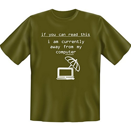 Spass T-Shirt if you can read this i am currently away from my computer Fb khaki Kaki