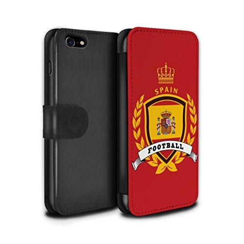 Stuff4 Coque/Etui/Housse Cuir PU Case/Cover pour Apple iPhone 8 / Brésil/Brésilien Design / Emblème Football Collection Espagne/Espagnol