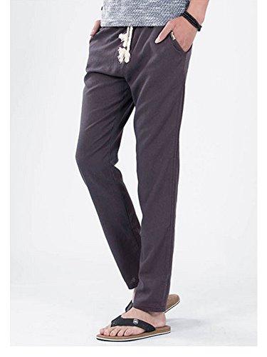 Pantalon homme en lin style décontractés Gris