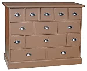 Meuble de mercerie 19 tiroirs 120x48x95 cm en pin massif - meuble personnalisable