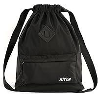 HITOP - Bolsa deportiva de cordón, ligera, unisex; mochila saco, mochila para hombre y mujer., negro