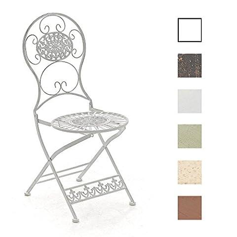 CLP Chaise pliante nostalgique MANI, Chaise fer forgé, Chaise antique ultra-élégante, blanc antique