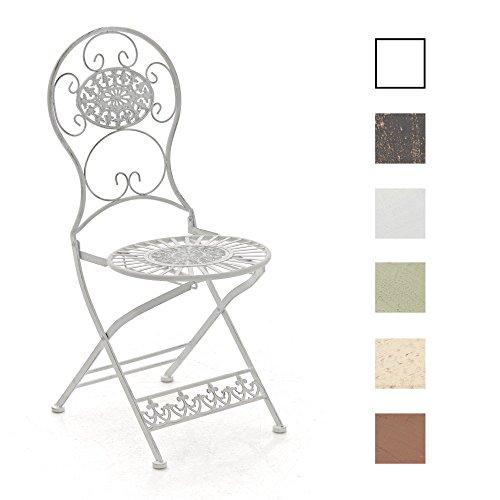 CLP Eisen-Klappstuhl MANI im Jugendstil I Antiker handgefertigter Gartenstuhl aus Eisen I erhältlich Antik Weiß