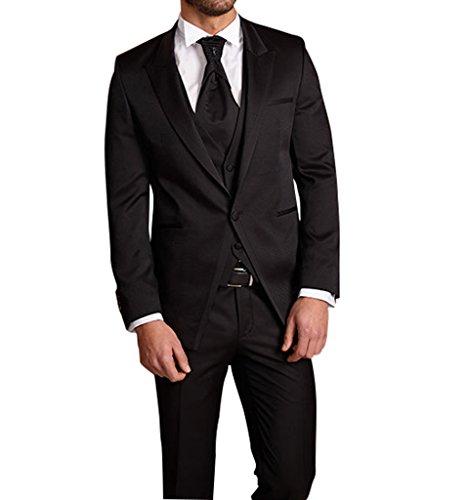 Suit Me 3 pezzi classici uomini vestiti cerimonia nuziale vestito smoking smoking giacche gilet pantaloni HN29 Nero