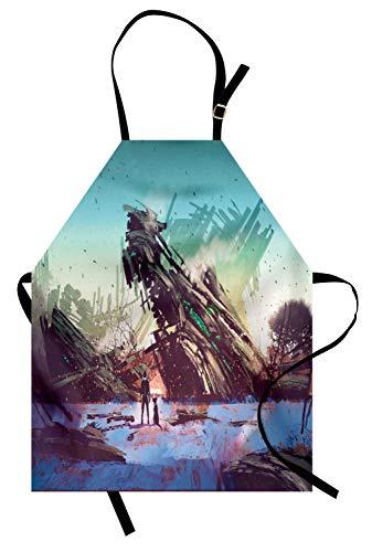lt Kochschürze, Mann und Hund, die zerschmetterte Raumschiff-Fantasie-futuristische Illustration betrachten, Farbfest Höhenverstellbar Waschbar Klarer Digitaldruck, Grün Blau ()