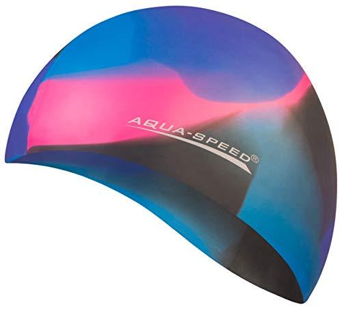 Aqua Speed Badekappe Herren | Silikon | Bademütze | Badehaube | Mehrfarbig + Aufbewahrungstasche Bunt / 80