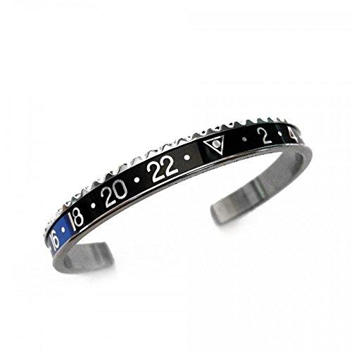 Bracciale alla schiava per uomo in acciaio smaltato con colori e corona simili a Rolex blu e nero