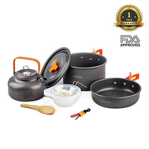 Overmont 11Pcs Kit de Utensilios Cocina Camping Olla Sartén Tetera Vajilla para Acampada Senderismo Excursión al Aire Llibre de Aluminio