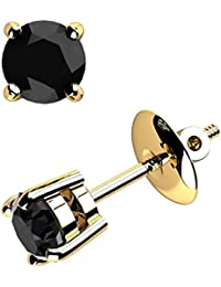 Special Offer..!! 1.50 Carat Round Black Diamond Stud Earrings .9K Yellow Gold