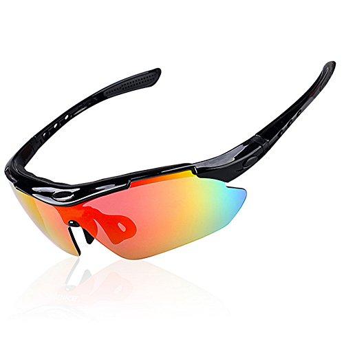 Dopobo bicicleta Blinker sol Ciclismo Ciclismo Wrap Correr Deportes al aire libre gafas de sol con 5lentes intercambiables irrompible polarizadas UV400, Gafas de sol deportivas, negro