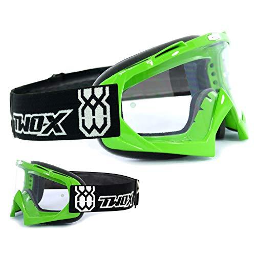 TWO-X Race Crossbrille MX Brille grün Motocross Enduro Klarglas Motorradbrille Anti Scratch MX Schutzbrille -