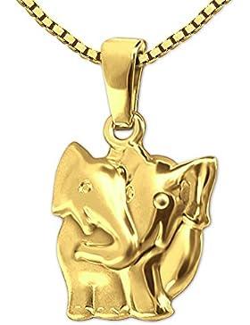 CLEVER SCHMUCK-SET Goldener Anhänger Elefant als Paar 15 mm seidenmatt und glänzend 333 GOLD 8 KARAT mit vergoldeter...