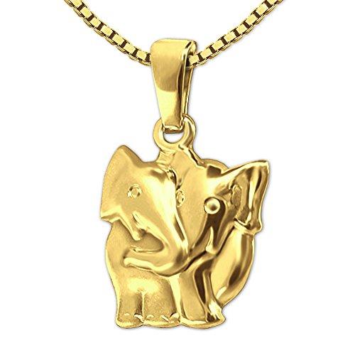 CLEVER SCHMUCK Set Goldener Anhänger Elefant als Paar 15 mm seidenmatt und glänzend 333 GOLD 8 KARAT mit vergoldeter Kette Venezia 42 cm im Etui
