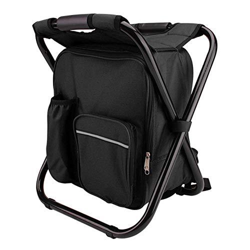 ssok chair Rucksack-kühler Stuhl Falten Angeln Stuhl Speicher Cooler Bag Multi-funktionale Reise Wandern Camping Beach Freizeit Eisbeutel-schwarz -