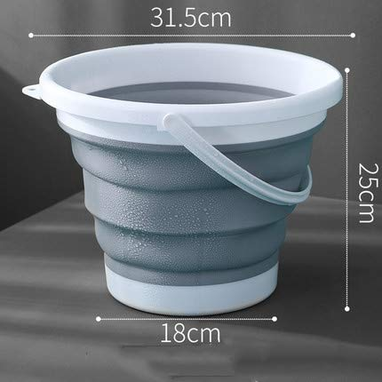 SSDHY Eimer Falteimer Kunststoff Haushalt Autowaschanlage Angelgerät Tragbare Badewanne Kunstspeicher Wasser LKW Anhänger Kücheneimer, Grau, 7L -