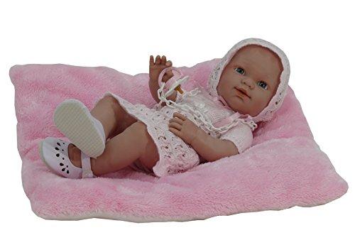 Nines Artesanals d'Onil - Muñeca Baby recién nacido Perlé con cojín de regalo (450)