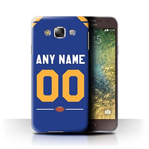 eSwish Personalisiert Individuell Amerikanischer Fußball Jersey 2 Hülle für Samsung Galaxy E5/E500 / Blau/Gelbgold Design/Initiale/Name/Text Schutzhülle/Case/Etui