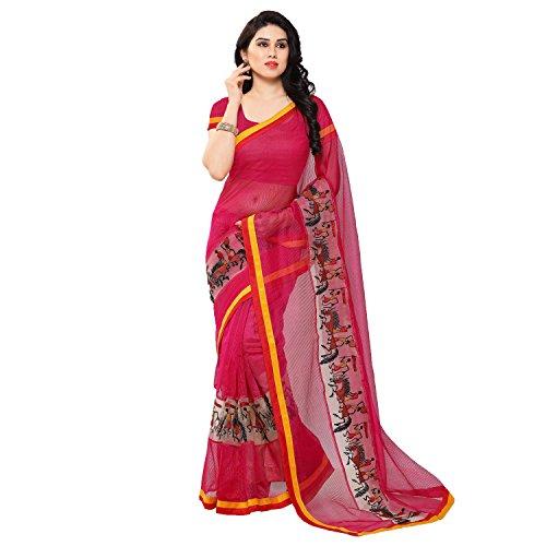 Kimisha Women's Pink Cotton Kanjivaram Saree (K_ancient_art_pink_Net Saree_Freesize)