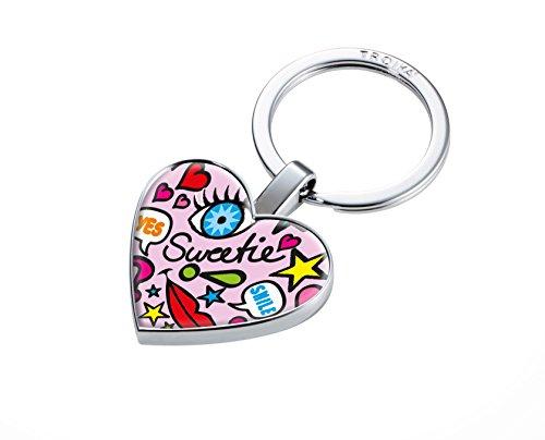 TROIKA Comix - #KYR22-A174 - Schlüsselanhänger mit Einkaufswagen-Chip - Chip magnetisch auf der Rückseite befestigt - Metallguss - glänzend - verchromt - rosa, Mehrfarbig - TROIKA-Original Queen-anne-chip